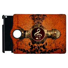 Wonderful Golden Clef On A Button With Floral Elements Apple Ipad 2 Flip 360 Case