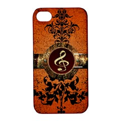 Wonderful Golden Clef On A Button With Floral Elements Apple iPhone 4/4S Hardshell Case with Stand