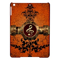 Wonderful Golden Clef On A Button With Floral Elements iPad Air Hardshell Cases