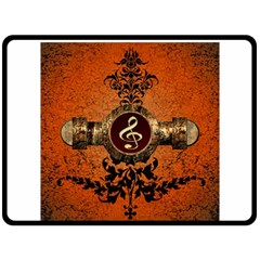 Wonderful Golden Clef On A Button With Floral Elements Double Sided Fleece Blanket (Large)