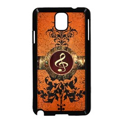 Wonderful Golden Clef On A Button With Floral Elements Samsung Galaxy Note 3 Neo Hardshell Case (Black)
