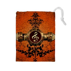 Wonderful Golden Clef On A Button With Floral Elements Drawstring Pouches (Large)