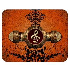 Wonderful Golden Clef On A Button With Floral Elements Double Sided Flano Blanket (medium)
