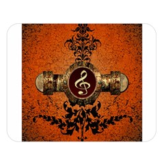 Wonderful Golden Clef On A Button With Floral Elements Double Sided Flano Blanket (large)