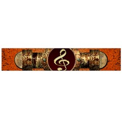 Wonderful Golden Clef On A Button With Floral Elements Flano Scarf (Large)