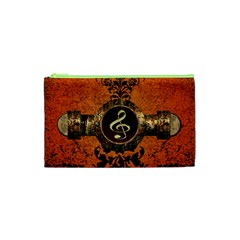 Wonderful Golden Clef On A Button With Floral Elements Cosmetic Bag (XS)