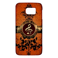 Wonderful Golden Clef On A Button With Floral Elements Galaxy S6