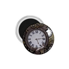 Steampunk, Awesome Clocks With Gears, Can You See The Cute Gescko 1.75  Magnets