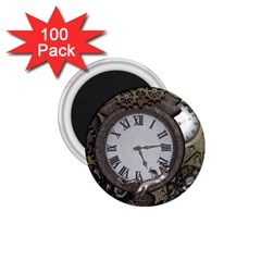 Steampunk, Awesome Clocks With Gears, Can You See The Cute Gescko 1.75  Magnets (100 pack)