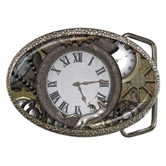 Steampunk, Awesome Clocks With Gears, Can You See The Cute Gescko Belt Buckles