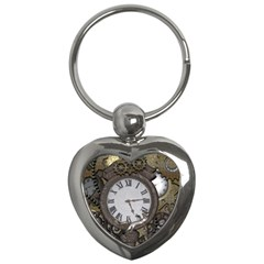 Steampunk, Awesome Clocks With Gears, Can You See The Cute Gescko Key Chains (Heart)
