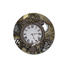 Steampunk, Awesome Clocks With Gears, Can You See The Cute Gescko Magnet 3  (Round)
