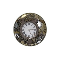 Steampunk, Awesome Clocks With Gears, Can You See The Cute Gescko Hat Clip Ball Marker