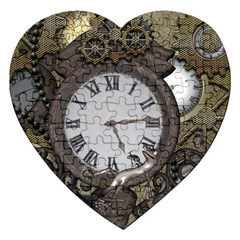 Steampunk, Awesome Clocks With Gears, Can You See The Cute Gescko Jigsaw Puzzle (Heart)