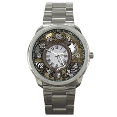 Steampunk, Awesome Clocks With Gears, Can You See The Cute Gescko Sport Metal Watches