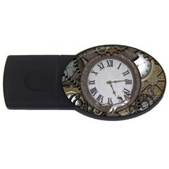 Steampunk, Awesome Clocks With Gears, Can You See The Cute Gescko USB Flash Drive Oval (4 GB)