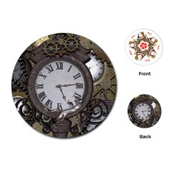 Steampunk, Awesome Clocks With Gears, Can You See The Cute Gescko Playing Cards (round)