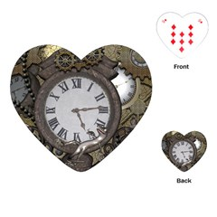 Steampunk, Awesome Clocks With Gears, Can You See The Cute Gescko Playing Cards (heart)