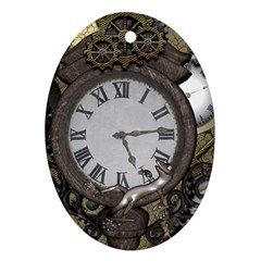 Steampunk, Awesome Clocks With Gears, Can You See The Cute Gescko Oval Ornament (Two Sides)