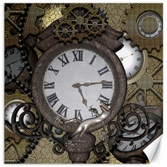 Steampunk, Awesome Clocks With Gears, Can You See The Cute Gescko Canvas 16  x 16