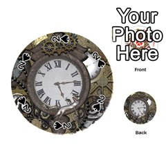 Steampunk, Awesome Clocks With Gears, Can You See The Cute Gescko Playing Cards 54 (round)