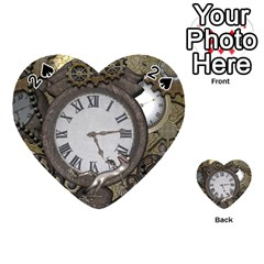 Steampunk, Awesome Clocks With Gears, Can You See The Cute Gescko Playing Cards 54 (Heart)