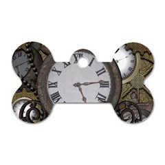 Steampunk, Awesome Clocks With Gears, Can You See The Cute Gescko Dog Tag Bone (One Side)