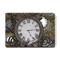 Steampunk, Awesome Clocks With Gears, Can You See The Cute Gescko Small Doormat