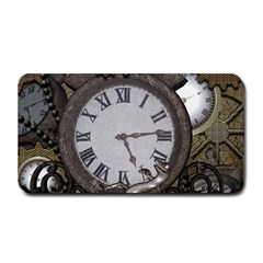 Steampunk, Awesome Clocks With Gears, Can You See The Cute Gescko Medium Bar Mats
