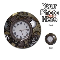 Steampunk, Awesome Clocks With Gears, Can You See The Cute Gescko Multi-purpose Cards (Round)