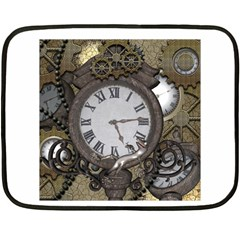 Steampunk, Awesome Clocks With Gears, Can You See The Cute Gescko Fleece Blanket (Mini)