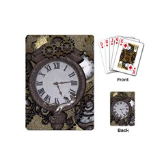Steampunk, Awesome Clocks With Gears, Can You See The Cute Gescko Playing Cards (Mini)