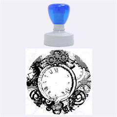 Steampunk, Awesome Clocks With Gears, Can You See The Cute Gescko Rubber Round Stamps (large)