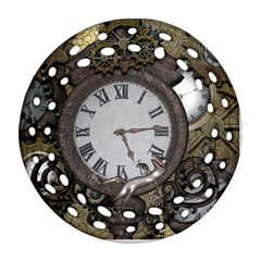 Steampunk, Awesome Clocks With Gears, Can You See The Cute Gescko Ornament (round Filigree)