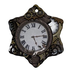 Steampunk, Awesome Clocks With Gears, Can You See The Cute Gescko Snowflake Ornament (2 Side)