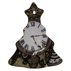 Steampunk, Awesome Clocks With Gears, Can You See The Cute Gescko Christmas Tree Ornament (2 Sides)