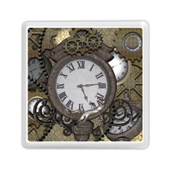 Steampunk, Awesome Clocks With Gears, Can You See The Cute Gescko Memory Card Reader (Square)