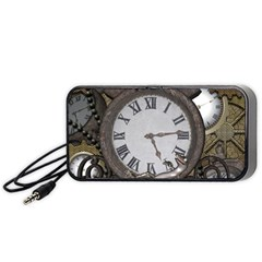 Steampunk, Awesome Clocks With Gears, Can You See The Cute Gescko Portable Speaker (Black)