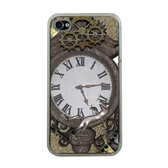 Steampunk, Awesome Clocks With Gears, Can You See The Cute Gescko Apple iPhone 4 Case (Clear)