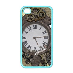 Steampunk, Awesome Clocks With Gears, Can You See The Cute Gescko Apple iPhone 4 Case (Color)
