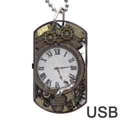 Steampunk, Awesome Clocks With Gears, Can You See The Cute Gescko Dog Tag USB Flash (One Side)