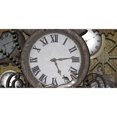 Steampunk, Awesome Clocks With Gears, Can You See The Cute Gescko YOU ARE INVITED 3D Greeting Card (8x4)