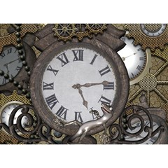 Steampunk, Awesome Clocks With Gears, Can You See The Cute Gescko Birthday Cake 3d Greeting Card (7x5)