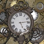 Steampunk, Awesome Clocks With Gears, Can You See The Cute Gescko Congrats Graduate 3D Greeting Card (8x4)  Inside