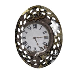 Steampunk, Awesome Clocks With Gears, Can You See The Cute Gescko Ornament (oval Filigree)