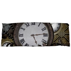 Steampunk, Awesome Clocks With Gears, Can You See The Cute Gescko Body Pillow Cases (dakimakura)