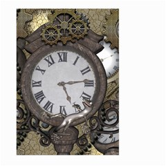 Steampunk, Awesome Clocks With Gears, Can You See The Cute Gescko Large Garden Flag (Two Sides)