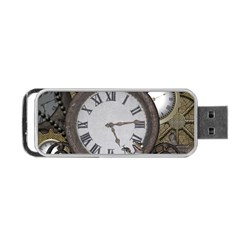 Steampunk, Awesome Clocks With Gears, Can You See The Cute Gescko Portable Usb Flash (one Side)