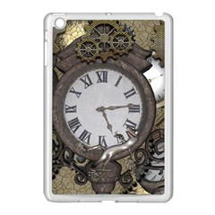 Steampunk, Awesome Clocks With Gears, Can You See The Cute Gescko Apple iPad Mini Case (White)