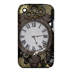 Steampunk, Awesome Clocks With Gears, Can You See The Cute Gescko Apple iPhone 3G/3GS Hardshell Case (PC+Silicone)